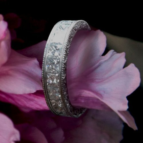 Antique Milgrain Diamond Wedding Band