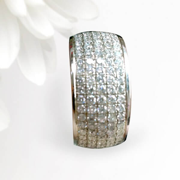 Five Row Micropavé Diamond Wedding Band