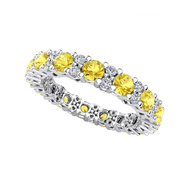 Yellow Sapphire Diamond Accents Eternity Ring