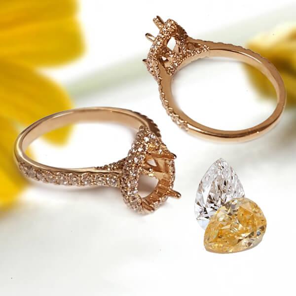Pear Shaped Halo Bridal Setting