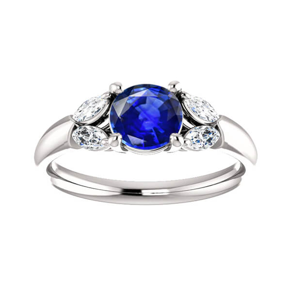 Round Sapphire Marquise Accents Engagement Ring