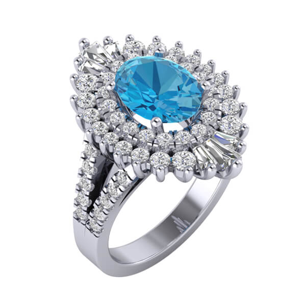 Round Genuine London Blue Topaz