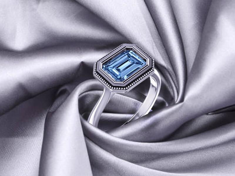 Blue Genuine Diamond Engagement Ring