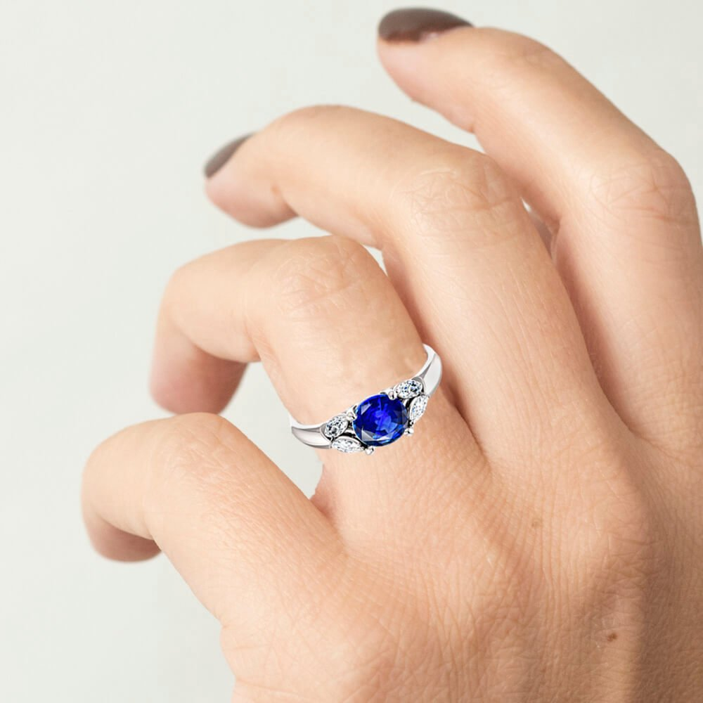 Round Blue Sapphire with Marquise Accents Engagement