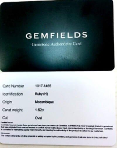 Gemfields Certificate