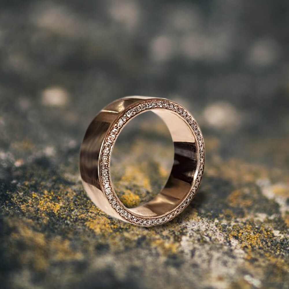 Celebrity-Inspired Men's Wedding Band with Diamond Accents set in Micropave