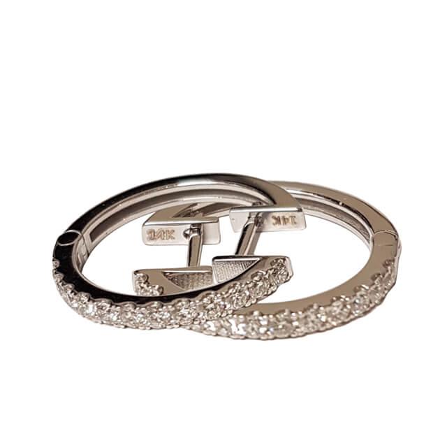 Diamond Pave Single Row Hoop Earrings