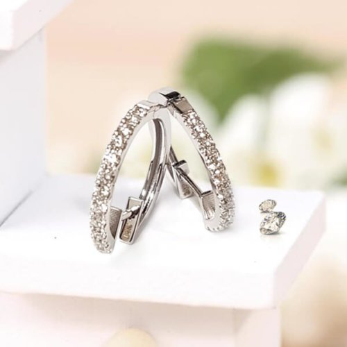 Diamond Pave Single Row Hoop Earrings