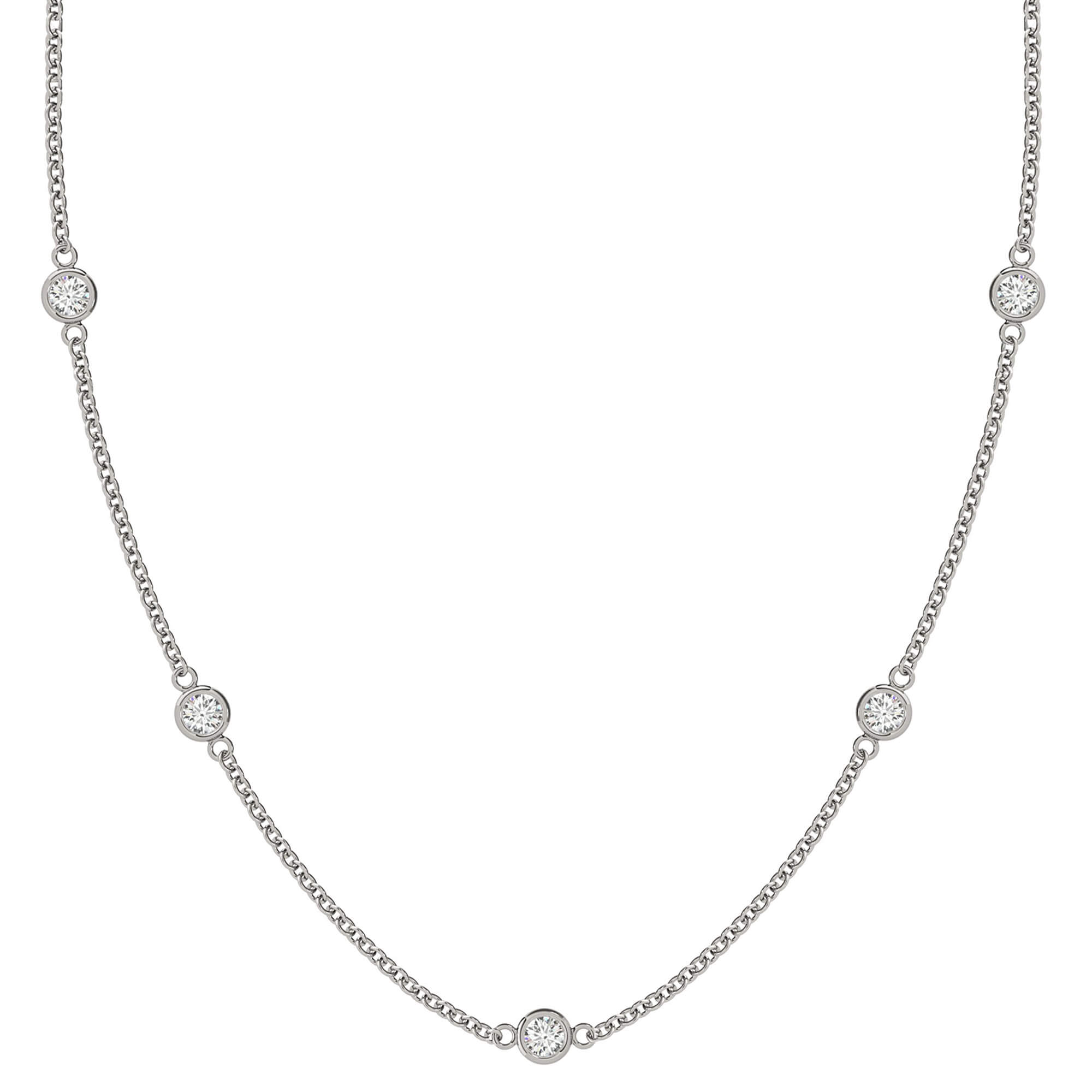 9ed86ab3c676d1 Buy Five Bezel-Set Diamond Station Necklace in 14K White Gold (0.5ctw)
