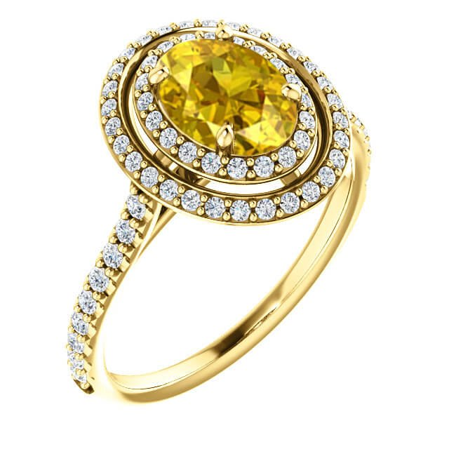 Oval Yellow Sapphire Double Diamond Halo Engagement