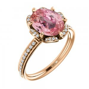 Oval Cut Padparadscha Sapphire in Floral Diamond Accent Engagement Setting