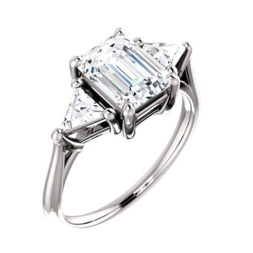 1.20cts Emerald Cut Diamond with Triangle Cut Diamond Accents Engagement Ring