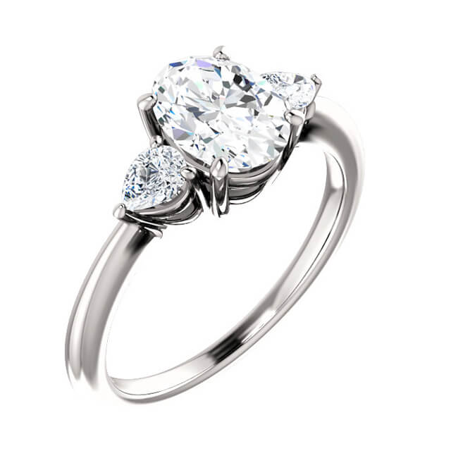 Oval Cut Diamond with Pear Shaped Diamond Accents Engagement Ring