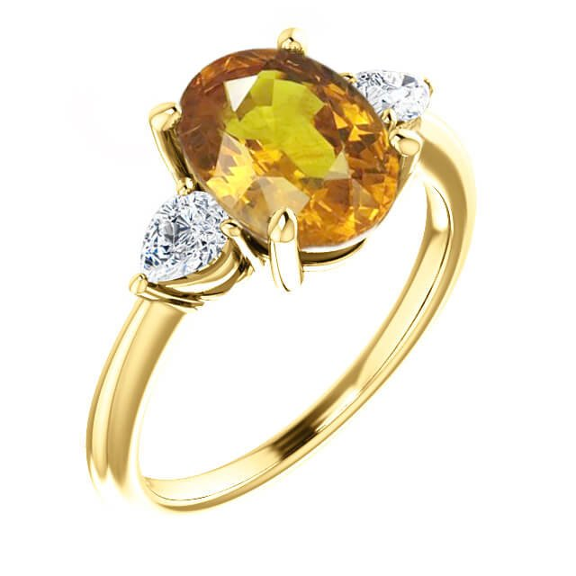 Oval Yellow Sapphire Three Stone Engagement