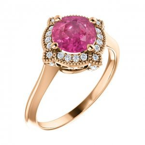 Round Pink Sapphire Floral Engagement Rose Gold