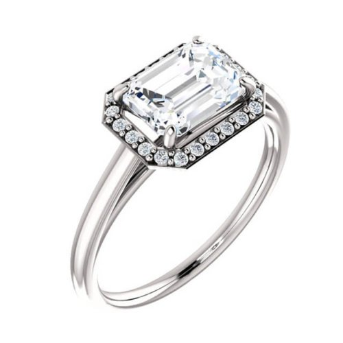 Emerald Cut Diamond East-West Engagement Ring in Platinum