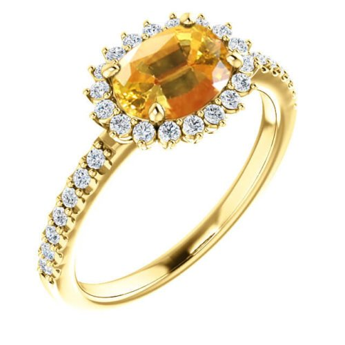 East-West Set Oval Cut Yellow Sapphire in Diamond Halo Engagement Setting