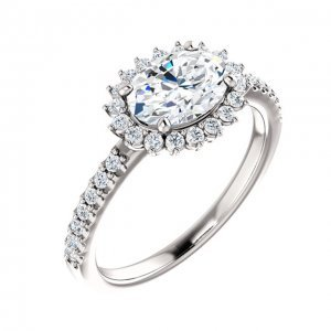 1.20cts Oval Cut Diamond East-West Halo Engagement Ring in Platinum