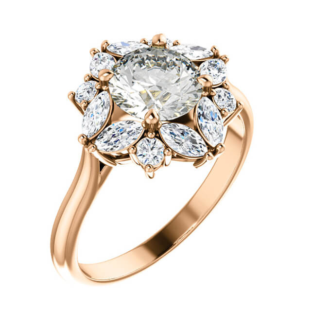 0.80cts Round Brilliant Cut Diamond Floral Halo Setting in 18K Rose Gold