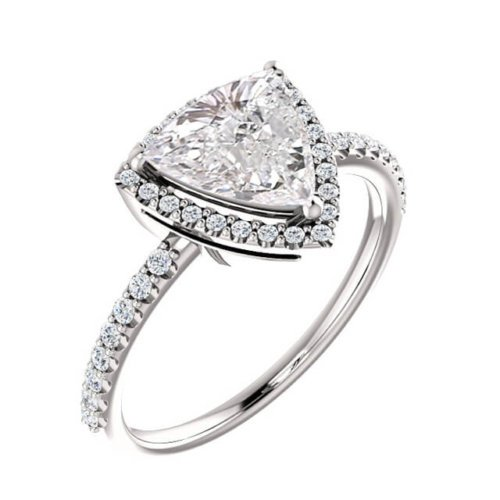 Trillion Cut Diamond Halo Engagement