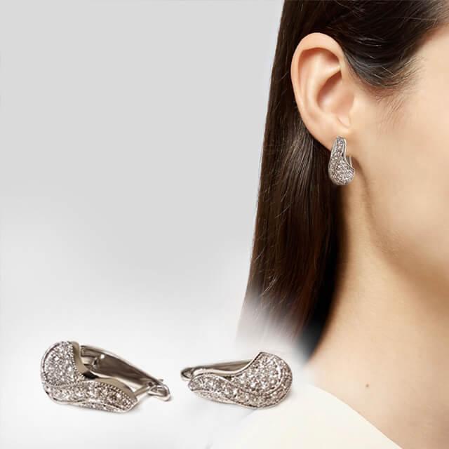 Fancy Shaped Milgrain Micropave Set Diamond Infinity Huggie Earrings