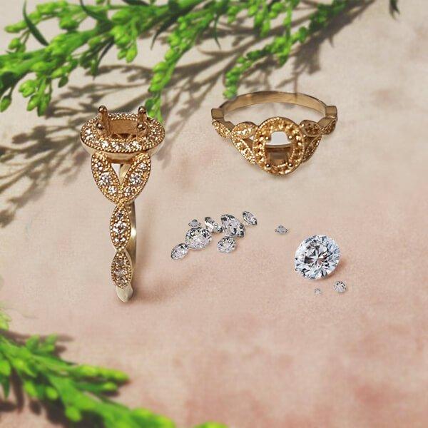 Vintage Vine Leaf Oval Diamond Halo Milgrain Detailed Engagement Setting