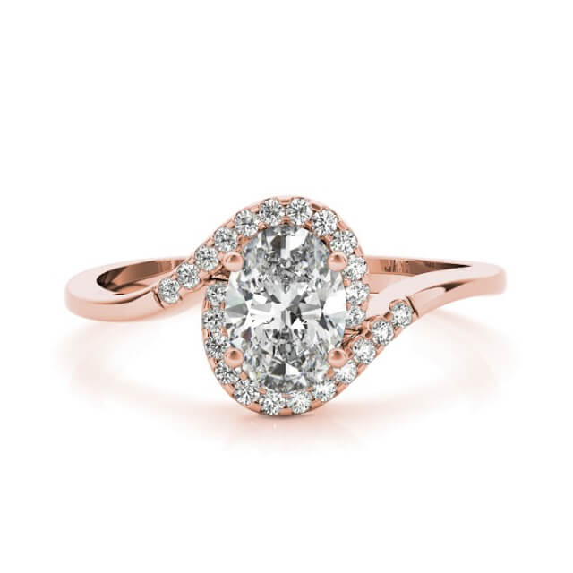 Oval Cut Diamond Twisted Halo Engagement Ring in 18K Rose Gold