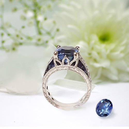 Cushion Cut Sapphire Diamond Accent Antique Style Engagement Setting