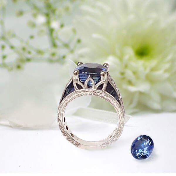Cushion Cut Sapphire Diamond Accent Antique Style Engagement Setting