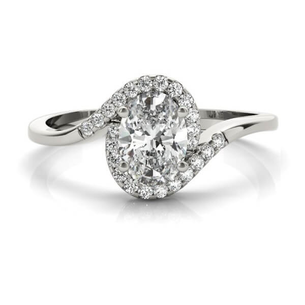 Oval Diamond Twisted Halo in White Gold