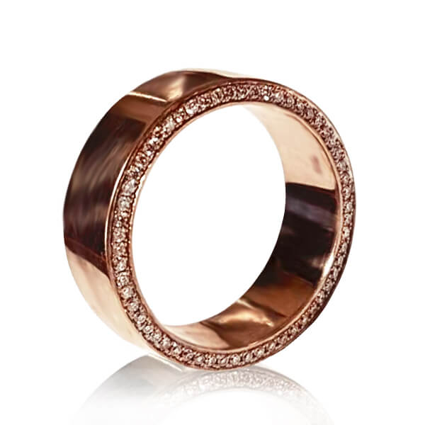 Celebrity-Inspired Men's Diamond Pave Accents Wedding Band in Rose Gold