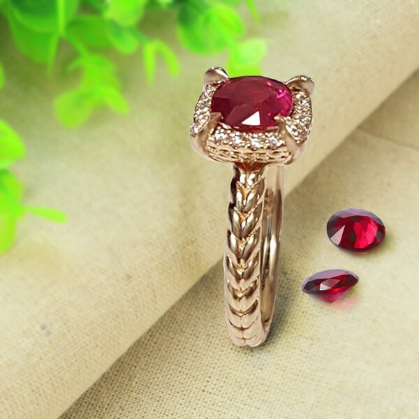 1ct Cushion Cut Ruby Twisted Rope Diamond Halo Engagement Setting in 18K Rose Gold