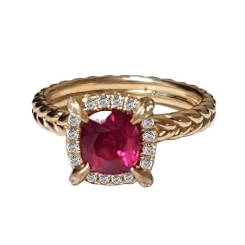 1ct Ruby Tiger Claws in Twisted Rope Diamond Halo Engagement Setting