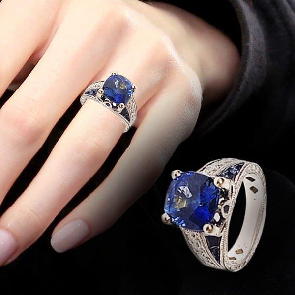 Cushion Cut Sapphire Diamond Accent Antique Style Engagement Ring