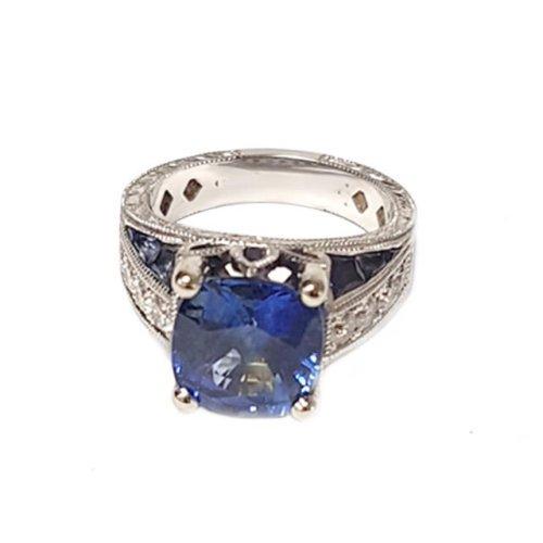 Ceylon Sapphire Diamond Engagement Ring