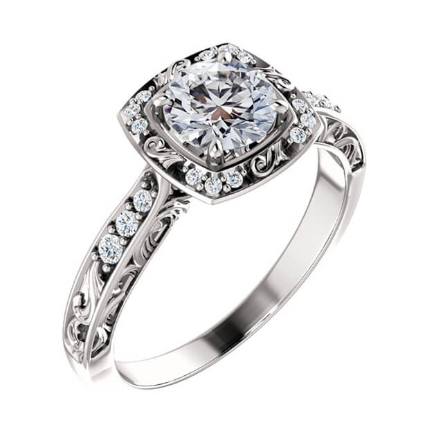 Princess Diamond Square Halo Engagement Ring