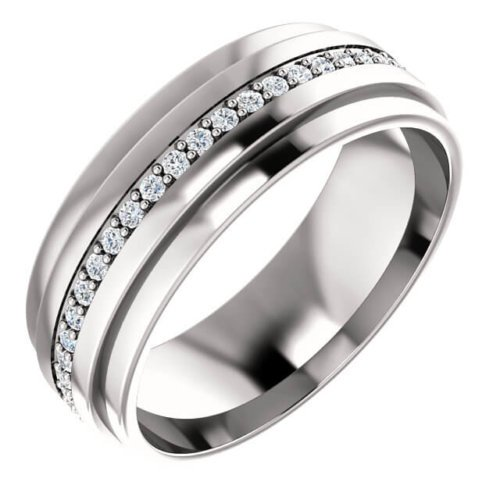 Men's Round Diamond Accents Wedding Band in Platinum
