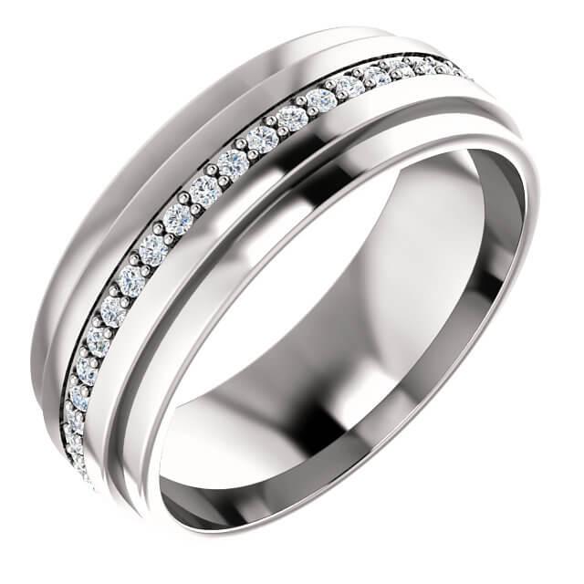 Men's Round Diamond Accents Wedding Band in Platinum