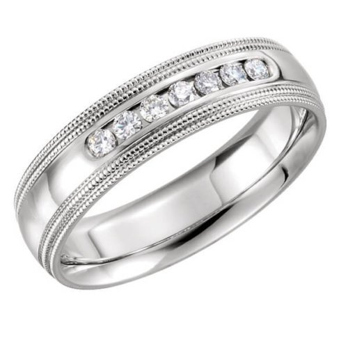 Double Milgrain 7 Diamond Accents Men's Wedding Band