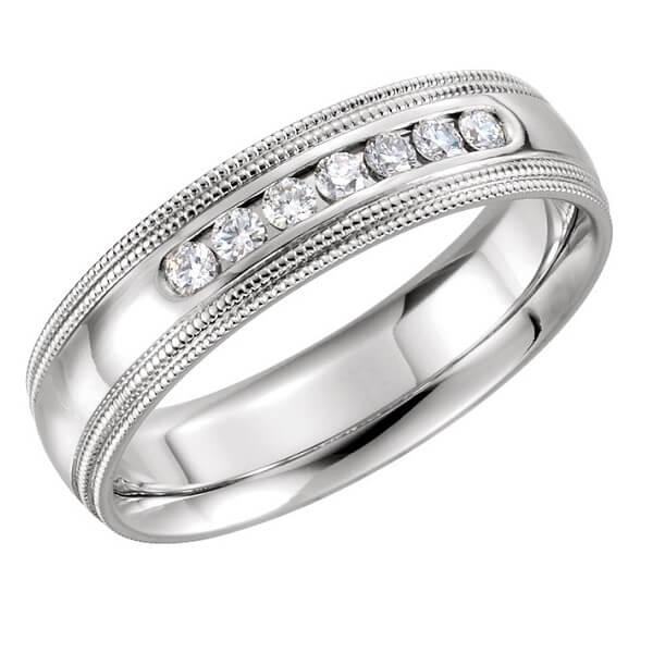 Double Milgrain 7 Diamond Accents Men's Wedding Band
