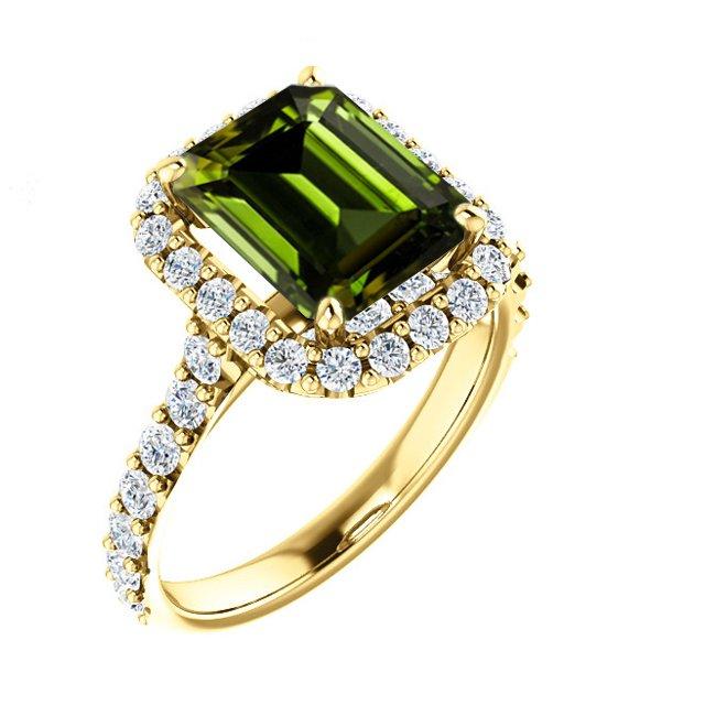 122804 Halo Green Tourmaline Emerald 10x8mm Product