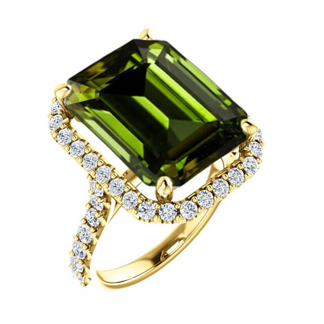 Emerald Cut Green Tourmaline Diamond Halo Engagement Ring in 18K Yellow Gold
