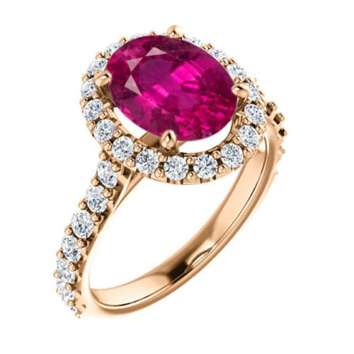 2.90cts Rubelite Oval Cut Tourmaline Diamond Halo Engagement Ring in 18K Rose Gold