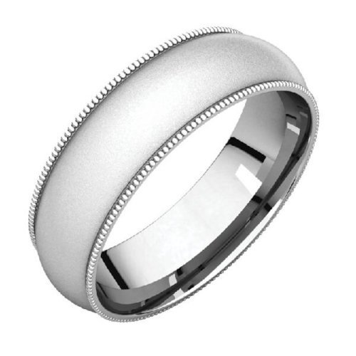 Milgrain Comfort Fit Men's Wedding Band in Platinum Glass Blast