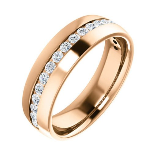Men's Round Diamond Channel Set Wedding Ring in 18K Rose Gold