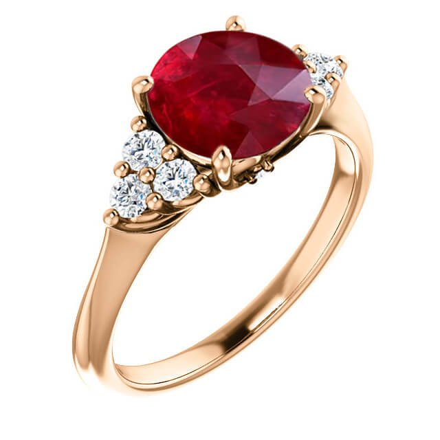 Round Cut Ruby Accent Diamond Engagement Ring in 18K Rose Gold