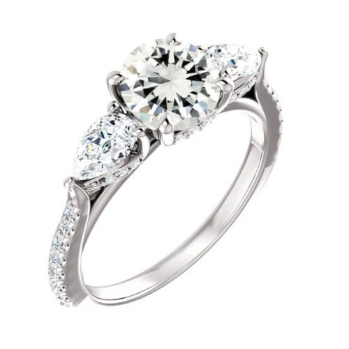French Pave Three Stone Pear Shaped Sidestone Engagement Ring in PlatinumOptions