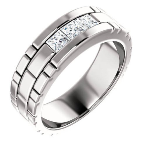 Men's Princess Cut Accent Diamonds Channel Set Wedding Band in Platinum