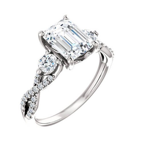 Emerald Cut Diamond Twisted Infinity Three Stone Engagement Ring(