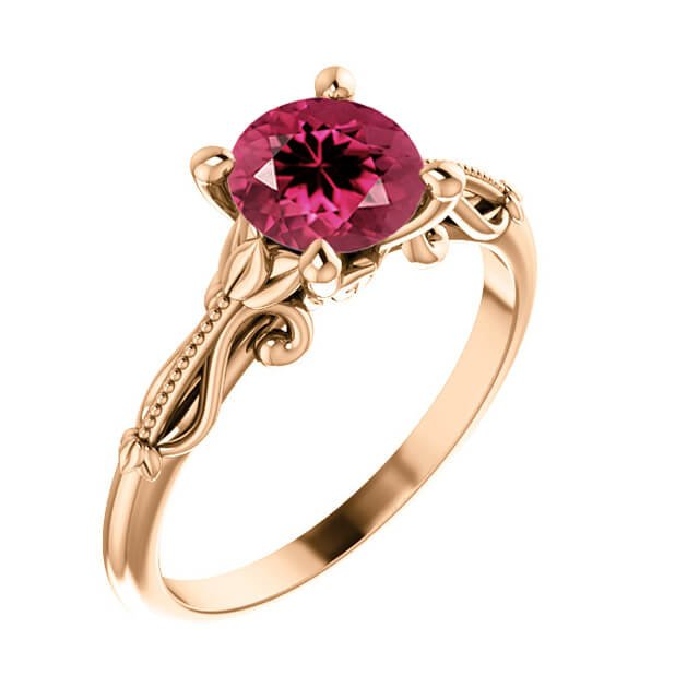 ink Round Cut Tourmaline Sculptural-Inspired Solitaire Engagement Ring in Rose Gold